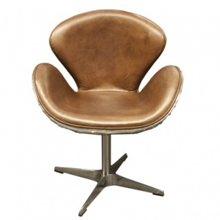 Luxus Art Deco Schreibtisch Stuhl Echtleder Hellbraun / Aluminium Drehstuhl Drehsessel - Chefsessel - Air Wing Flugzeug Vintage Sessel Stuhl