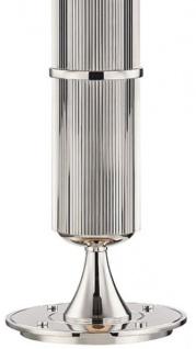 Casa Padrino Luxus Tischleuchte Silber / Weiß Ø 38 x H. 71 cm - Tischlampe mit rundem Leinen Lampenschirm - Vorschau 3