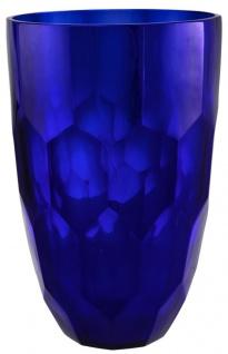Casa Padrino Glas Vase Blau Ø 20 x H. 30 cm - Luxus Deko Blumenvase