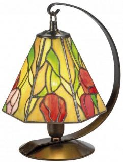Casa Padrino Luxus Tiffany Tischleuchte / Hockerleuchte Rosen Mehrfarbig Ø 15 x H. 23 cm - Handgefertigte Leuchte aus 94 Teilen - Vorschau