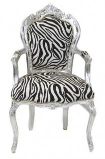 Casa Padrino Barock Esszimmer Stuhl Zebra / Silber mit Armlehnen