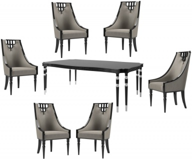 Casa Padrino Luxus Art Deco Esszimmer Set Grau / Schwarz / Silber - 1 Esszimmertisch & 6 Esszimmerstühle - Art Deco Esszimmer Möbel - Luxus Qualität