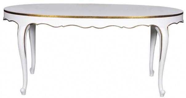 Casa Padrino Luxus Barock Esstisch Weiß / Gold 207 x 114 x H. 78 cm - Ovaler Mahagoni Küchentisch - Barock Esszimmer Möbel - Luxus Qualität - Vorschau 2