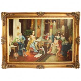 Riesiges Handgemaltes Barock Öl Gemälde Gesellschaft Gold Prunk Rahmen 225 x 165 x 10 cm - Massives Material
