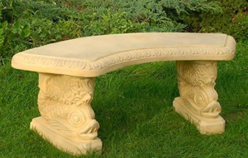 Casa Padrino Gartenbank / Parkbank Sandfarben 138 x 45 x H. 49 cm - Gebogene Garten Sitzbank im Orientalischen Stil - Gartenmöbel