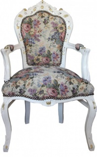 Casa Padrino Barock Esszimmer Stuhl mit Armlehnen Blumen Muster / Creme / Gold - Limited Edition