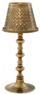 Casa Padrino Luxus Messing Teelichthalter mit Lampenschirm Vintage Messingfarben Ø 16 x H. 39 cm - Deko Accessoires