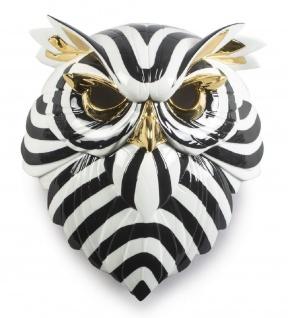 Casa Padrino Luxus Porzellan Deko Maske Eule Schwarz / Weiß / Gold 32 x 14 x H. 35 cm - Moderne handgefertigte Wanddeko - Erstklassische Qualität - Made in Spain