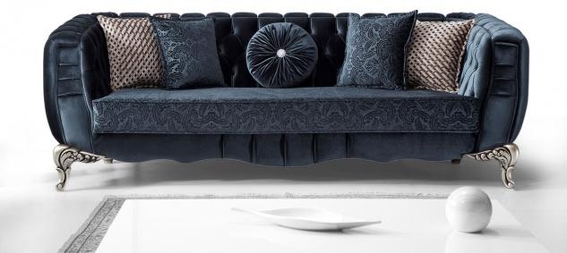 Casa Padrino Luxus Barock Sofa Blau / Silber 235 x 103 x H. 82 cm - Barockstil Wohnzimmer Sofa mit dekorativen Kissen - Barock Wohnzimmer Möbel