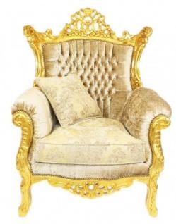 Casa Padrino Barock Wohnzimmer Set Master Creme Samtstoff / Gold - 3er Sofa + 2 Sessel - Limited Edition! - Vorschau 4