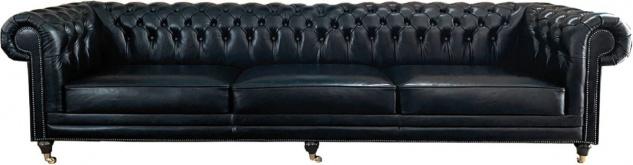 Casa Padrino Luxus Chesterfield Leder Sofa Vintage Schwarz - Echtleder Wohnzimmer Sofa mit Rollen - Luxus Chesterfield Möbel