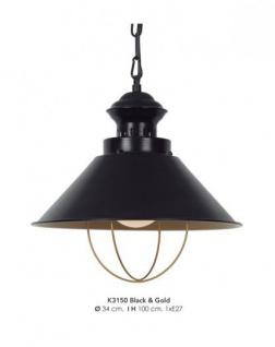 Casa Padrino Hängeleuchte Deckenleuchte Schwarz / Gold Industrial Design 34 cm Durchmesser - Industrie Lampe Leuchte Industrieleuchte