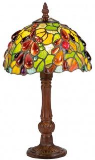 Casa Padrino Luxus Tiffany Tischleuchte Mehrfarbig Ø 20 x H. 35 cm - Handgefertigte Hockerleuchte