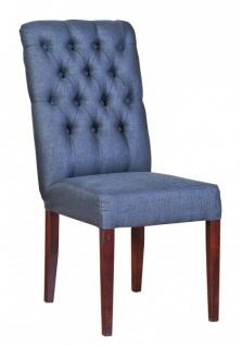 Casa Padrino Designer Esszimmer Stuhl ModEF 225 Blau-Grau / Braun - Hoteleinrichtung - Buchenholz - Chesterfield Design - Vorschau 2