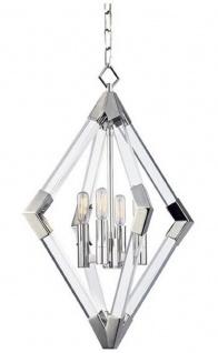 Casa Padrino Luxus Hängeleuchte Silber 43, 8 x 43, 8 x H. 61 cm - Pendelleuchte mit Acryl-Diamantrahmen und Metallakzenten