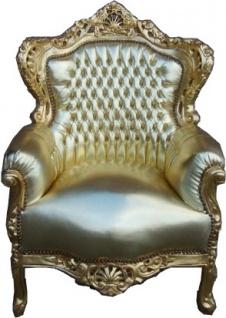 Casa Padrino Barock Sessel King Gold / Gold Lederoptik 85 x 85 x H. 120 cm - Edel & Prunkvoll