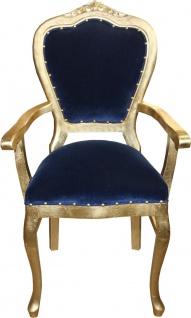 Casa Padrino Barock Luxus Damen Stuhl mit Armlehnen Royalblau/Gold - Damen Schminktisch Stuhl - Limited Edition