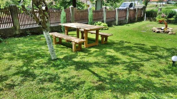 Casa Padrino Gartenmöbel Set Rustikal - Tisch + 2 Garten Bänke (Länge: 200 cm) - Eiche Massivholz - Vorschau 2