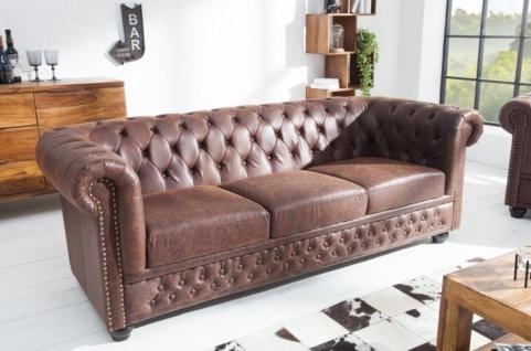 Casa Padrino Chesterfield Sofa Vintage Braun 200 x 85 x H. 70 cm - Kunstleder 3er Couch - Chesterfield Wohnzimmer Möbel