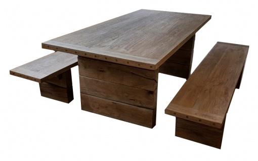 Casa Padrino Gartenmöbel Set Rustikal - Tisch + 2 Garten Bänke (Länge 200 cm) - Eiche Massivholz - Echtholz Möbel Massiv - Vorschau 2