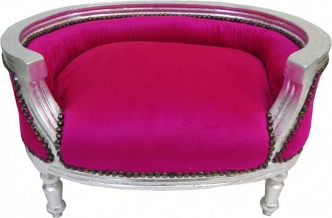 Barock Hunde & Katzen Sofa Pink/Silber - Hundesessel Sitz Hundebett Katzenbett Hund Katze Möbel