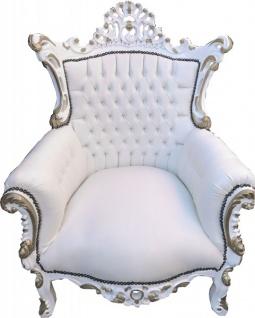 Casa Padrino Barock Sessel Al Capone Weiß / Weiß mit Goldbemalung - Möbel Antik Stil