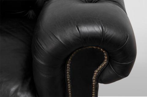 Chesterfield Luxus Echt Leder Sofa 3 Sitzer Vintage Leder von Casa Padrino Old Saddle Black - Vorschau 2
