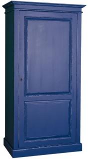 Casa Padrino Landhausstil Kleiderschrank Antik Blau 149 x 67 x H. 210 cm - Massivholz Schlafzimmerschrank mit Tür - Landhausstil Schlafzimmermöbel