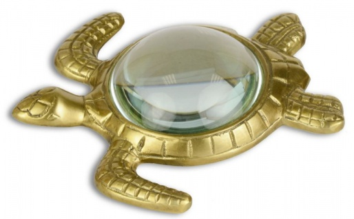 Casa Padrino Luxus Lupe Schildkröte Gold 15, 5 x 14, 9 cm - Luxus Accessoires