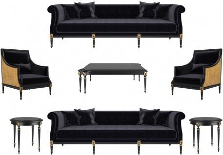 Casa Padrino Luxus Barock Wohnzimmer Set Schwarz / Gold / Antik Gold - 2 Sofas & 2 Sessel & 1 Couchtisch & 2 Beistelltische - Möbel im Barockstil - Edle Barock Wohnzimmer Möbel