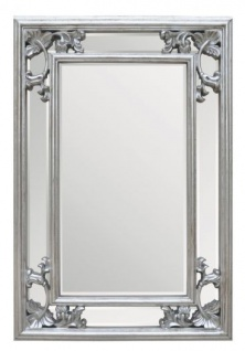 Casa Padrino Barock Wandspiegel Silber H 96 cm B 66 cm - Edel & Prunkvoll - Spiegel Silberfarben