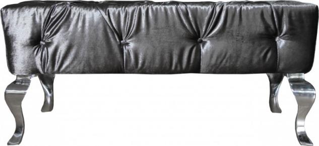 Casa Padrino Luxus Barock Sitzhocker Grau / Silber - Designer Sitzbank - Hocker - Luxus Qualität