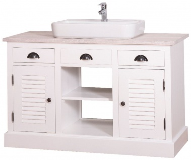 Casa Padrino Landhausstil Waschbeckenschrank Weiß / Hellgrau 120 x 51 x H. 75 cm - Waschtisch mit 2 Türen und 3 Schubladen - Vorschau 3