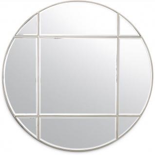 Casa Padrino Luxus Spiegel Silber Ø 110 cm - Runder Wandspiegel - Wohnzimmer Spiegel - Garderoben Spiegel - Luxus Qualität