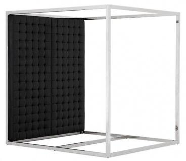 Casa Padrino Luxus Bettgestell mit Kopfteil in schwarzer Leder-Optik 190 x 220 x H. 220 cm - Designermöbel