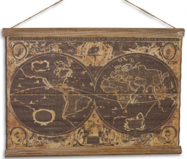 Casa Padrino Wandkarte Geographische Weltkarte Braun / Mehrfarbig 60 x H. 53 cm - Wanddeko