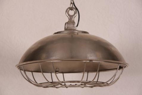 Casa Padrino Hängeleuchte Deckenleuchte Antik Stil vernickelt Industrial Vintage Design 45cm Durchmesser - Industrie Lampe Hänge Leuchte
