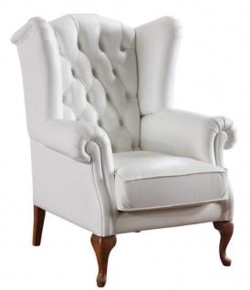Casa Padrino Luxus Art Deco Chesterfield Leder Ohrensessel Weiß / Braun 79 x 90 x H. 108 cm - Wohnzimmermöbel