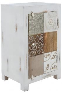 Casa Padrino Landhausstil Shabby Chic Kommode Antik Weiß / Mehrfarbig 40 x 32 x H. 70 cm - Kleiner Landhausstil Schrank mit Tür - Vorschau 2