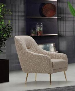 Casa Padrino Luxus Sessel Beige / Gold 58 x 80 x H. 94 cm - Wohnzimmer Sessel mit elegantem Muster - Wohnzimmer Möbel