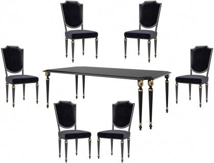 Casa Padrino Luxus Barock Esszimmer Set Schwarz / Antik Gold - 1 Esszimmertisch & 6 Esszimmerstühle - Barock Esszimmermöbel - Luxus Qualität - Edel & Prunkvoll
