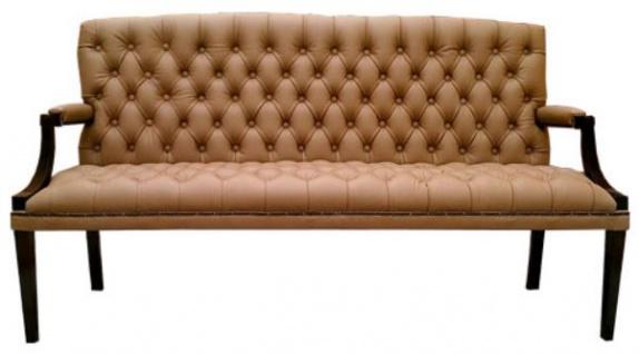 Casa Padrino Chesterfield Echtleder 3er Sitzbank mit Armlehnen Hellbraun / Schwarz 180 x 60 x H. 100 cm - Luxus Möbel
