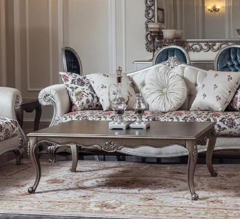 Casa Padrino Luxus Barock Couchtisch Silber 126 x 90 x H. 45 cm - Rechteckiger Massivholz Wohnzimmertisch im Barockstil - Barock Wohnzimmer Möbel