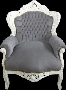 """Casa Padrino Barock Sessel """" King"""" Grau /Creme - Antik Stil"""