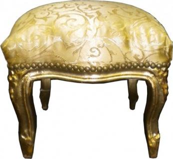 Barock Fußhocker Gold Muster / Gold