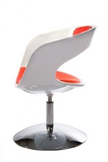 Casa Padrino Designer Stuhl Weiß/Rot, drehbar - Moderner Stuhl - Vorschau 4