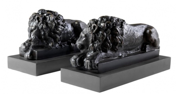 Casa Padrino Luxus Löwen Bronzefiguren 2er Set - Edel & Prunkvoll - Vorschau 1