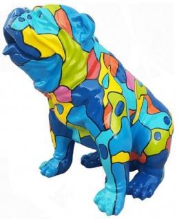 Casa Padrino Designer Dekofigur Hund Bulldogge Blau / Mehrfarbig 67 x H. 70 cm - Wetterbeständige Garten Terrassen Wohnzimmer Deko Skulptur