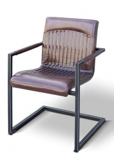 Casa Padrino Vintage Industrial Echtleder Armlehnstuhl Industrie Stuhl - ALLE FARBEN - Luxus Sessel Industrie Armlehner Design Möbel Büffelleder