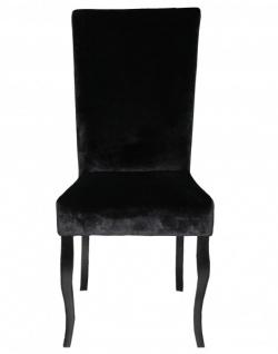 Casa Padrino Esszimmer Stuhl Schwarz / Schwarz ohne Armlehnen - Barock Möbel